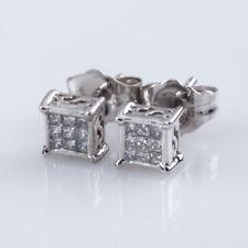 Adorabile 0.25 K Diamante Taglio Princess Placca Bottone Orecchini IN 14k Bianco