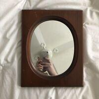Vintage Minimalist Wooden Rectangular Frame Simple Oval Mirror Rustic Cottage EC