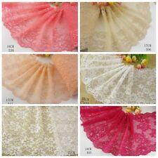 Delicate Beige/Pink/White 1 yard Elastic/Spandex Soft Flower Floral lace trim 17