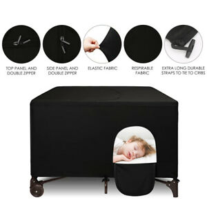 Elastic Stretch Breathable Baby Play Crib Shading Tent Blackout Cover w/ Window