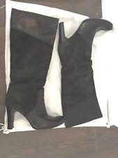 $950 Max Mara/Max&Co Dark Blue Navy Leather Suede Block High Heel Boots 36IT/6US