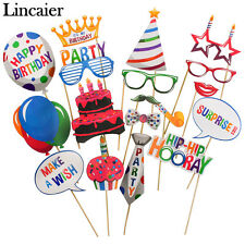 18pcs Photo Booth Props Happy Birthday Party Decorations Supplies Adult Kids