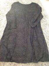 Woman's black lace shift dress, size14