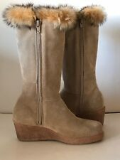 NWOB MAXINE OF CANADA Beige Suede Fur Mid-Calf Boots Size 6M 36 NEW Waterproof