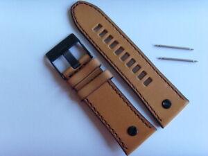 DIESEL Original Ersatzband Lederarmband DZ7406 Uhrband braun 28 mm watch strap