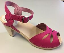 Maguba Swedish Handmade Clogs-Rio Natural High-Pink Suede Size 40