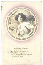 Beautiful Woman vintage Birthday Greetings embossed Amag Postcard - 1913