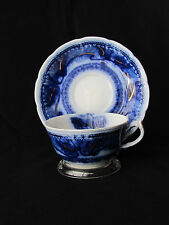 Antique Wood And Sons Flow Blue Cup & Saucer Marseilles 376524 Gold Trim Used