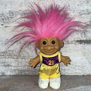 """Vintage Russ Treasure Troll #21 Basketball Lakers Colors 5"""" Pink Hair Brown Eyes"""