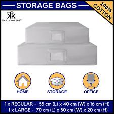 2Pcs Zipper Storage Bag for Clothes Blanket Bedding Duvet Pillows 1xREG+1xLARGE