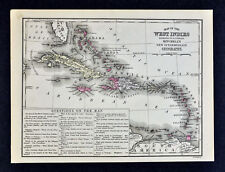 1876 Mitchell Map West Indies Caribbean Sea Cuba Bahamas Jamaica Antilles
