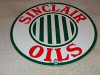 """VINTAGE SINCLAIR OPALINE OILS 9"""" PORCELAIN METAL GASOLINE & OIL SIGN! PUMP PLATE"""