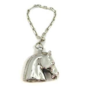 HERMES Horse Head Charm Key Holder Bag Charm Silver SV925 Authentic 10239