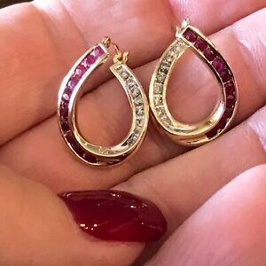 14k diamond ruby earrings hoop yellow gold 4.1g round channel 585