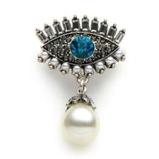 "EVIL EYE PIN 1.8"" Silver Plate Sparkling Rhinestone Brooch Faux Pearl Blue Lapel"