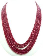 "400 ct+ Gorgeous Designer 5 Strand Natural Ruby Heavy Gemstone Necklace 18"""