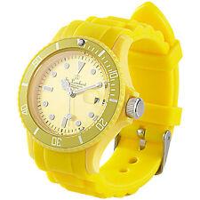 Unisex-Uhr: Sportliche Silikon-Quarz-Armbanduhr, Lupen-Mineralglas, sonnengelb
