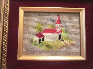 CREWEL EMBRIODERED NEEDLEWORK CHURCH OF THE MEADOW HANGING 8.5 x 7.5 INCHES