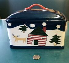 Trish Richman For At Home International Deer Cabin Snow Canister Box