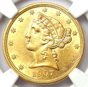 1907-D Liberty Gold Half Eagle $5 Coin - Certified NGC AU58 - Rare Gold Coin!