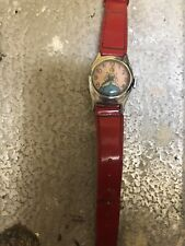 Vintage Disney Child's Cinderella Watch With Red Plastic Band. US TIME Windup
