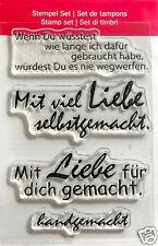 Clear Stempel transparent  handgemacht , Mit Liebe gemacht ...