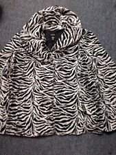 Alfani Coat Black White Zebra Design Size Large Faux Fur Polyester