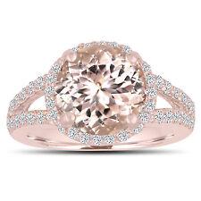 Morganite Engagement Ring 3.53 Carat 14K Rose Gold Halo Pave Split Shank