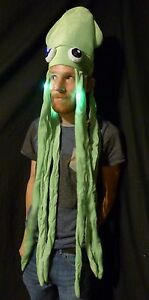 LED Light up Long Squid Hat - Party adult dreads bright novelty Tentacles FLASH