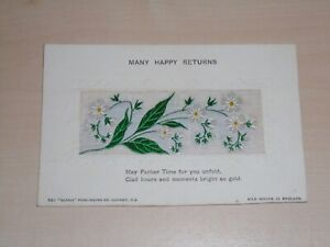 "c1910 Woven Silk Birthday Greetings Postcard Of White Flowers By ""Alpha"" Publish"