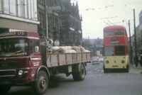PHOTO  YORKSHIRE HUDDERSFIELD TROLLEYBUS IN TOWN CENTRE 1968