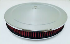 "14"" x 2"" Chrome Round Air Cleaner Flat Base Washable Filter Chevy Ford"