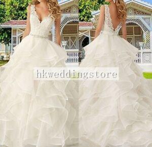 Stunning V-Neckline Backless Ruffles Wedding Dress Lace Bridal Gown Custom Size