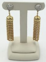 18K Yellow Gold  . 48 Cts.  Diamond Earrings With  tassel design Retail  $2,500