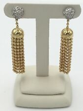 18K Yellow Gold Diamond Earrings With White Gold Accents Ladies Estate Piece