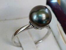 NEW 9.7mm Cultured Tahitian Pearl Solitaire Ring Band 14K White Gold Size 7.25