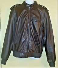 Vintage 1980's Members Only Leather Cafe Racer Jacket Dark Brown Size 50