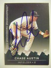 CHASE AUSTIN signed 2010 GREENSBORO baseball card AUTO Autographed ELON COLLEGE