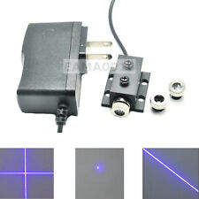 Dot Line Cross 50mW 405nm Violet/Blue Laser Module w/12mm Hestsink & AC Adapter