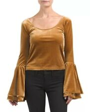 NWT Torn by Ronny Kobo 'Mimi' VELVET BELL SLEEVED CROP Top In GOLD SMALL   $183