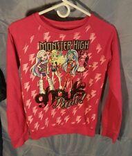 """Monster High """"Ghouls Rule"""" Pink Lightweight Sweatshirt Girl's sz XL (14-16)"""