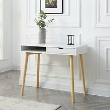NEW White Writing Desk with Storage Drawer and Wood Legs
