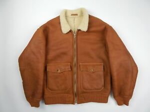 Sawyer of Napa Tan Genuine Shearling Bomber Jacket Men's sz L