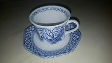 VINTAGE J G MEAKIN WILLOW PATTERN CUP & SAUCER
