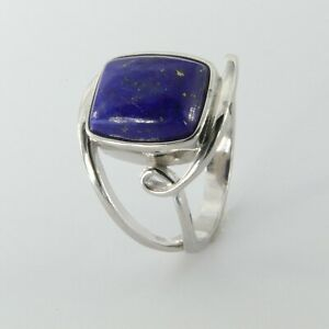 Size 6 - Natural Square BLUE LAPIS LAZULI Ring - 925 STERLING SILVER #39
