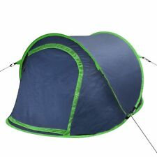 vidaXL Pop-up Camping Tent 2 Persons Navy Blue and Green  Outdoor Shelter