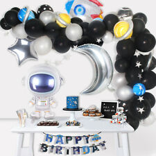 Outer Space Astronaut Rocket Balloons Spaceman Happy Birthday Banner Party Decor