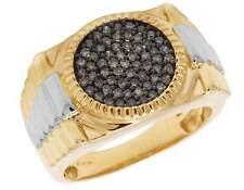 Mens 10K Two Tone Gold Genuine Brown Diamond Step Shank Pinky Fashion Ring .50ct