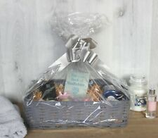 Deluxe Wicker Hamper Basket Grey Make Your Own Christmas Gift Large Storage Bow