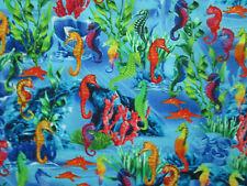 SEAHORSE SEA HORSE REEF TROPICAL COLORFUL SEA LIFE BLUE COTTON FABRIC FQ